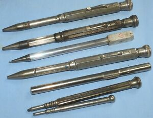 MIXED LOT VINTAGE PROPELLING PENCIL COLLECTION + LEAD CASE x 7 (FOUR WAY)