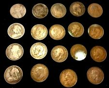 Lot of 19 Great Britain Penny, King George, Edward, Queen Victoria 1863 - 1940s