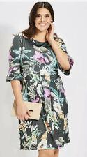 Kaleidoscope Tropical Flower Flute Sleeve Dress Size 20 Green New