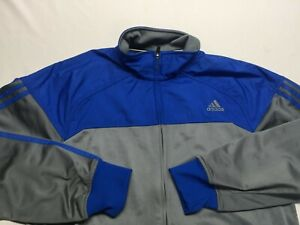 Men's Adidas Full zip track jacket Long sleeve Gray and blue Large L