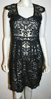 Yoana Baraschi Black Lace Dress 6 Sleeveless Shear Collar Tie Back Anthropologie