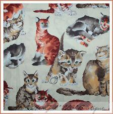 BonEful Fabric Fq Cotton Quilt Vtg Cream Brown Cat Kitty Tan White Gray Catnip