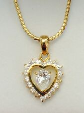 Heart Pendant Charm Crystal Yellow Gold Plated Necklace Chain Christmas Gifts