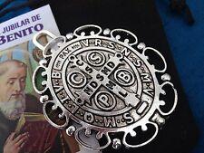 Silver Plated  Saint St Benedict Pendant Cross Medal/ Medalla DE SAn Benito