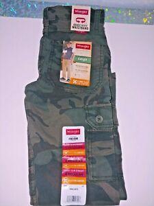 Wrangler Boys Flex Cargo Slim Fit Pant Green Camo 9RKLW7E Size 6 Regular