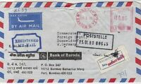 India 1980 Bank of Baroda Seal Bombay Cancel Regd Airmail Stamp Cover Ref 29738
