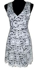 Monteau Juniors Dress Fit and Flare Hi Lo Ivory Lace over black lining Medium