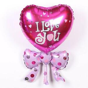 I Love You Balloon Magenta Heart & Bow Balloon Pink Love Balloon Valentine's Day