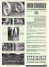 Reklame Blatt Union Stahlräder für schwere Ackerwagen Dortmunder Union um 1930