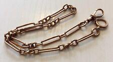Fabulous Old Antique Solid 9 Carat Rose Gold Albert or Ladies Double Bracelet