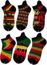 Men's Rasta, Bob Marley, Ganja Ankle Trainer Sports Socks In Green Red Yellow
