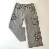 Ladies Next Petite Grey Embroidery Embellish Capri Chinos Cropp Trousers Size 14