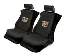 Seat Armour Universal Black Towel Front Seat Covers with New Cadillac Logo -Pair