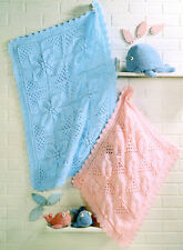 Chunky Wool Pram & Cot Baby Blankets Leaf Panel Knitting Pattern