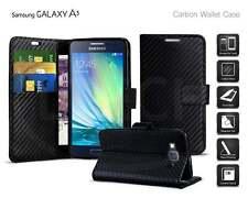 Samsung Galaxy A3 (2015) SM-A300FU - Carbon Fibre Effect Folio Wallet Book Case
