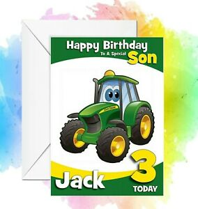 Personalised Tractor Birthday card Daughter Son Grandson Granddaughter