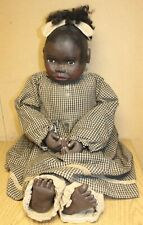 """African American Folk Art Primitive Carved Wood Black Doll Marked AA Wooden 30"""""""