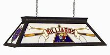 RAM Pool Table Lights Billiards Lighting KD BLUE Three 4 Bulbs Stained Glass