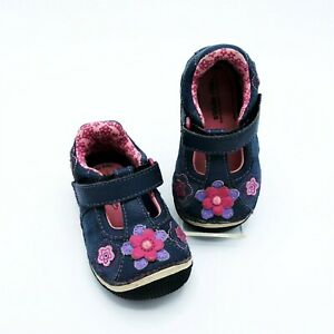 Stride Rite Baby Girl SRT  Meadow T-Strap Navy & Pink Flowers Size 4.5M