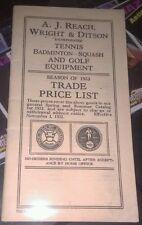 1933 A.J. REACH, WRIGHT & DITSON TENNIS, GOLF BADMITTON TRADE PRICE LIST CATALOG