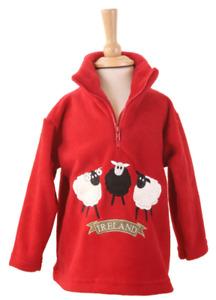 Irish Sheep Trio Zip Neck Fleece - Red