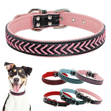 Soft Braided Leather Dog Collars Padded for Small Large Dogs Pink Red Blue S M L