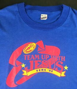 """Vintage Mens S 1992 Christian Religious """"Team Up With Jesus"""" VBS Blue T-Shirt"""