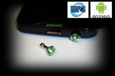 Bijou BRILLANT VERT Protection pour Prise Jack Smartphone Android MP3 Green Plug