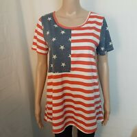 Tickled Teal Top Womens Size XL Red White Blue American Flag Short Sleeve Shirt
