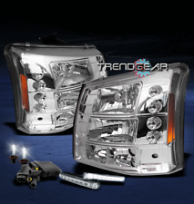 2003-2006 CHEVY SILVERADO AVALANCHE LED CLEAR CRYSTAL HEAD LIGHT LAMP+DRL+6K HID