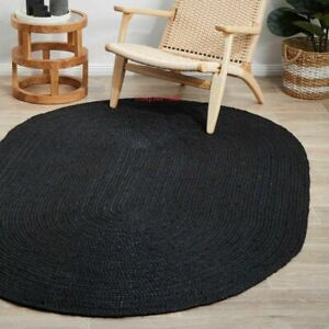 Rug 100% Natural Jute 4x7 Feet Reversible Oval Area Dhurrie Carpet Mat Rag Rugs
