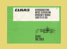 CLAAS Kreiselschwader WS 280 D Betriebsanleitung 1985