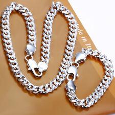 Cool 925Sterling Silver Sideways  Strong Men Necklace Bracelet Set 10MM S099
