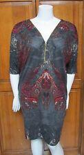 Mlle Gabrielle 3/4 Sleeve Zipper Front Over Head Print Knee Length Dress NWT XL