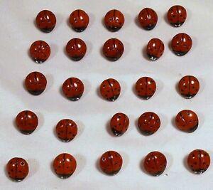 "25 Vtg 1970s JHB International Glass Novelty Realistic BUTTONS Red Ladybugs 1/2"""