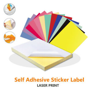 A4 Colours PVC Glossy Waterproof Self Adhesive Sticker Label Laser Print Paper