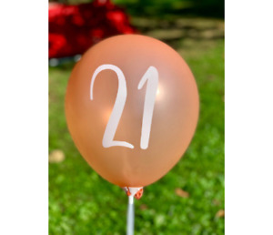 """12 Pack Rose Gold 21st Birthday Balloons 12"""" 21st Anniversary Party Theme Decor"""