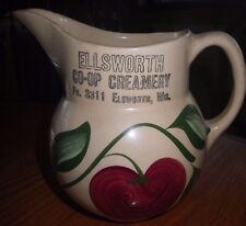 Watt Pottery #15 Apple Advertising Pitcher Ellsworth Co-op Creamery Wisconsin