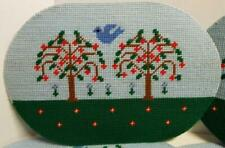 "4 Oval Plastic Canvas Handcrafted 17""x12"" Blue Trees Blue Bird Flowers Placemat"