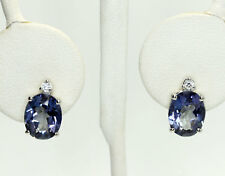 Sterling Silver Oval Blue Spine Round Cubic Zirconia Post Earrings