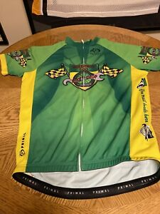 Primal Cycling Jersey Greenway 500 Green Full Zip Silicone Lined Waist