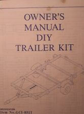 Trailer DIY Utility 4 X 8  Owners & Parts Manual 20pg Towing ATV Highway Cargo