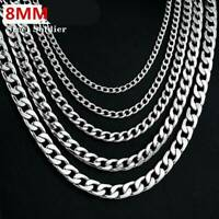 """8mm 925 Silver Cuban Link Necklace Chain Gifts Men Jewelry 8mm 16-24"""" Gift UK"""