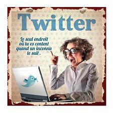 Plaque décorative humoristique Twitter Content en métal Rétro Vintage Class Déco