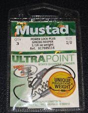 3 Pack Mustad 91768S116-10 Power Lock Plus Spring Keeper 1/16oz Weight 1/0 Hook
