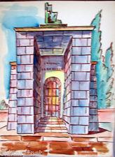 Acquerello '900 su carta Watercolor Architettura futurista cubista razionale-54
