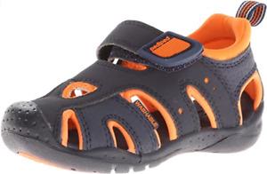 pediped Washable Boys Shoreline Navy Orange Sandal Youth Size US 13-4/ EU 31-36