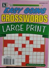 Kappa Easy Going Crosswords Large Print September 2017 Puzzles FREE SHIPPING sb