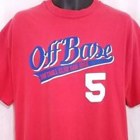 Off Base Softball Club T Shirt Vintage 90s San Jose Made In USA Red Size XL