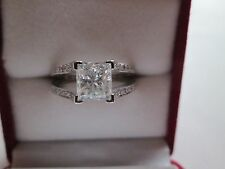 CERTIFIED DIAMOND PRINCESS-CUT 2.08 TCW H COLOR 14 CARAT WHITE GOLD RING SIZE M